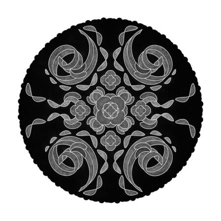 Colored pencil effects. Black, white and gray mandala illustration. Spirals Abstract. Decorative element.