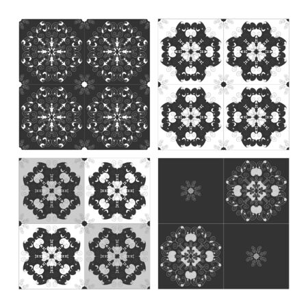 Pattern spirals black white and gray. Seamless. Decorative element. Vector.
