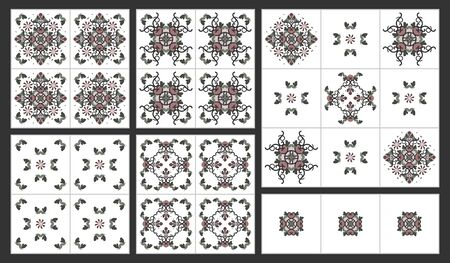 Abstract hearts and spirals pattern. Decorative element. Vector.