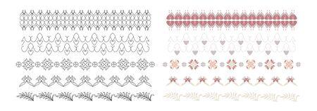 Frieze, Border with hearts, pretty colors. Decorative element. Vector. Banque d'images - 144661242