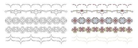 Frieze, Border with hearts, pretty colors. Decorative element. Vector. Banque d'images - 143842778