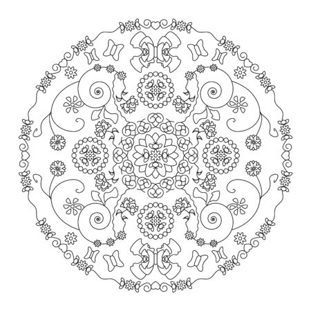 Little flowers and pretty butterflies. Mandala coloring page. vector illustration. Art Therapy.