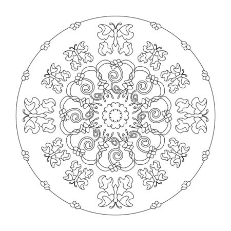 Little flowers and pretty butterflies. Mandala coloring page. vector illustration. Art Therapy. Banque d'images - 144968912