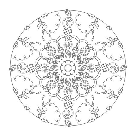 Pretty flowers and original. Mandala coloring page. vector illustration. Art Therapy. Banque d'images - 144968910