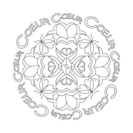 Little hearts with butterflies. Mandala coloring page. vector illustration. Art Therapy. Banque d'images - 144968911