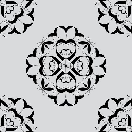 Seamless pattern with butterflies and hearts. Light gray color and black. Vector Banque d'images - 146923642