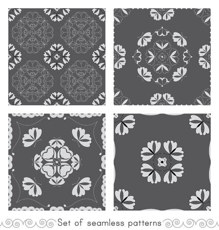 Set of seamless patterns with butterflies and hearts. Color gray, white and black. Vector. Banque d'images - 146923644