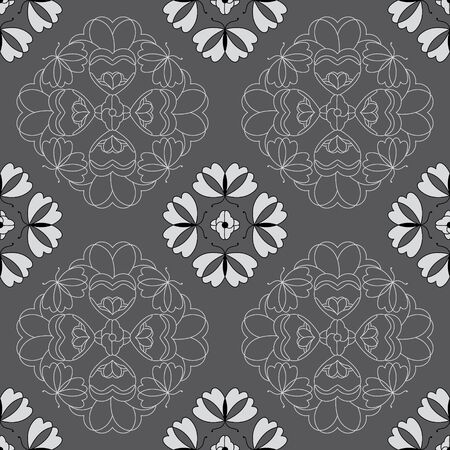 Seamless pattern with butterflies and hearts. Color gray, white and black. Vector. Banque d'images - 146923645