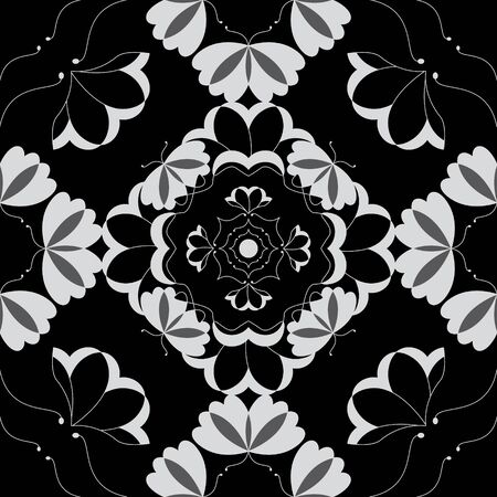 Seamless pattern with butterflies and hearts. Color black, white and gray. Vector Banque d'images - 146923646