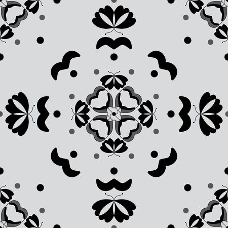 Seamless pattern with butterflies and hearts. Light gray color and black. Vector. Banque d'images - 146923647