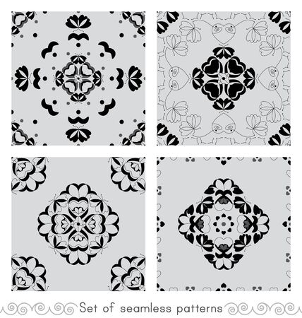 Set of seamless patterns with butterflies and hearts. Light gray color and black. Vector. Illustration