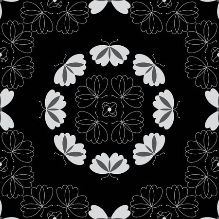 Seamless pattern with butterflies and hearts. Color black, white and gray. Vector. Banque d'images - 146923650