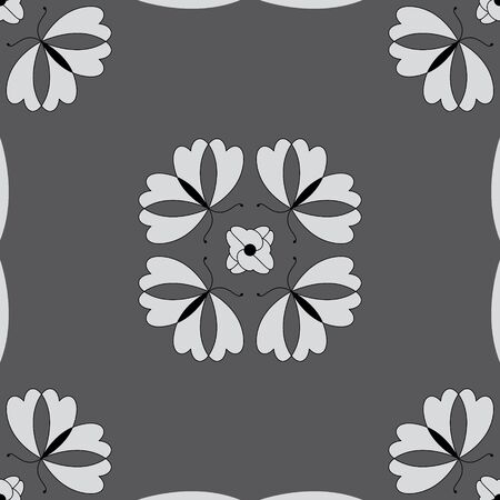 Seamless pattern with butterflies and hearts. Color gray, white and black. Vector Banque d'images - 146923651