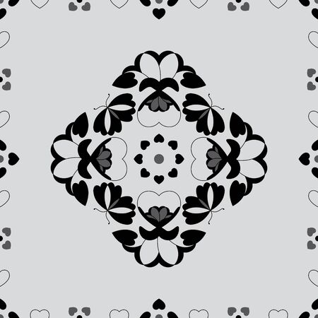Seamless pattern with butterflies and hearts. Light gray color and black. Vector. Banque d'images - 146923652