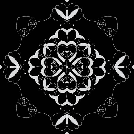 Seamless pattern with butterflies and hearts. Color black and white. Vector Banque d'images - 146923654