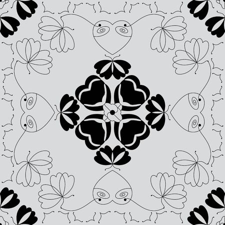 Seamless pattern with butterflies and hearts. Light gray color and black. Vector. Banque d'images - 146923655
