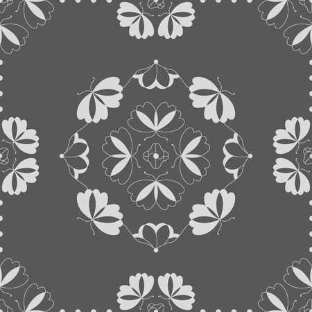 Seamless pattern with butterflies and hearts. Color gray and white. Vector Banque d'images - 146923656
