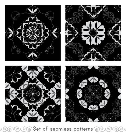 Set of seamless patterns with butterflies and hearts. Color black, white and gray. Vector. Banque d'images - 146923657