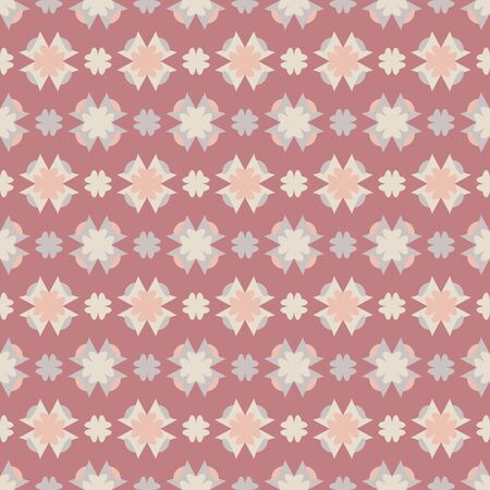Seamless pattern with hearts. Color red, orange, ivory cream and gray. Pastel colors. Vector. Illustration