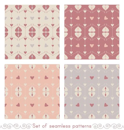 Set of seamless patterns with hearts and little hearts. Color orange, gray, red and cream ivory. Pastel colors. Vector.