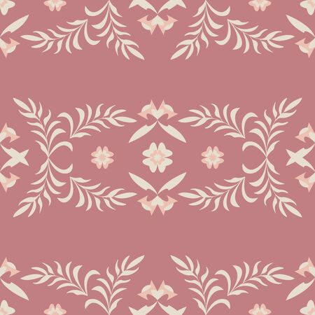 Seamless pattern flower and leaf. Color red. Pastel colors. Vector. Illustration