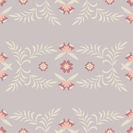 Seamless pattern flower and leaf. Color gray Pastel colors. Vector. Illustration