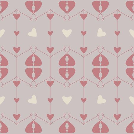 Seamless pattern with hearts and little hearts. Color gray, cream ivory and red. Pastel colors. Vector Illustration