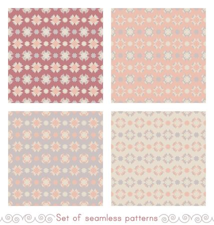 set of seamless patterns with hearts. Color gray, orange, red and cream ivory. Pastel colors. Vector. Illustration