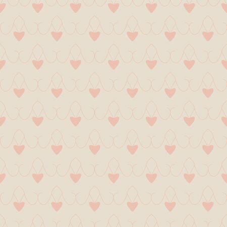 Seamless pattern with little hearts. Cream ivory color and heart color orange. Pastel colors. vector.