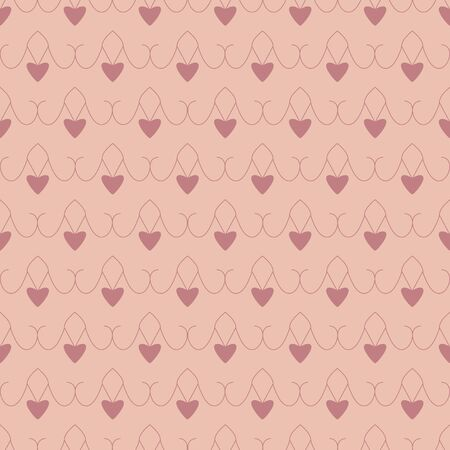 Seamless pattern with hearts. Color orange and red. Pastel colors. Vector