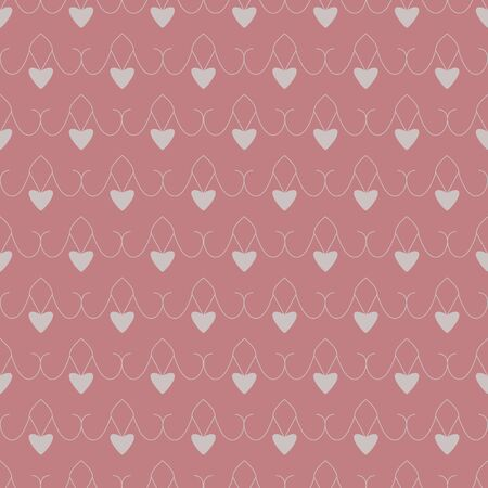 Seamless pattern with hearts. Color red and gray. Pastel colors. Vector Illustration
