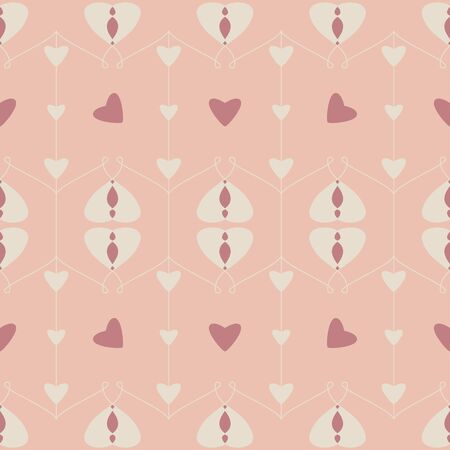 Seamless pattern with hearts and little hearts. Color orange, cream ivory and red. Pastel colors. Vector. Illustration