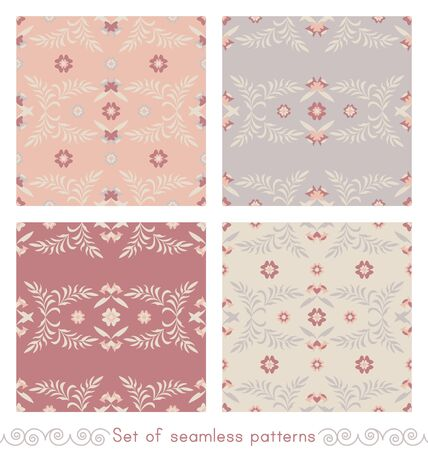 Set of seamless patterns flower and leaf. Pastel colors. Vector.