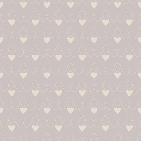 Seamless pattern with little hearts. Color gray and cream ivory. Pastel colors. Vector Illustration
