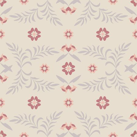 Seamless pattern flower and leaf. Color cream ivory. Pastel colors. Vector.
