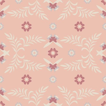 Seamless pattern flower and leaf. Color orange. Pastel colors. Vector.