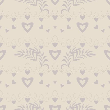Seamless pattern with hearts, little hearts and leaves. Color ivory cream and gray. Pastel colors. Vector
