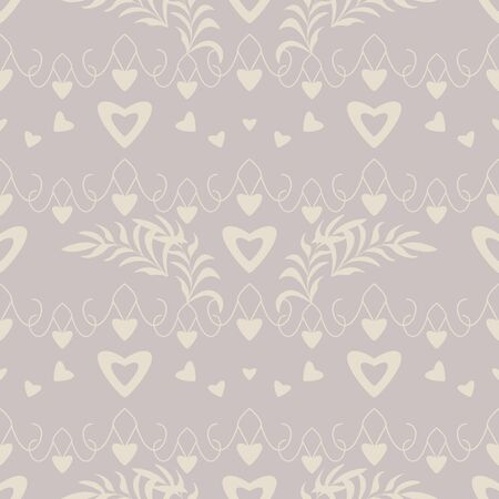 Seamless pattern with hearts, little hearts and leaves. Color gray and ivory cream. Pastel colors. Vector