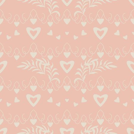 Seamless pattern with hearts, little hearts and leaves. Color orange and ivory cream Pastel colors. Vector Illustration