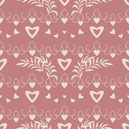 Seamless pattern with hearts, little hearts and leaves. Color red and ivory cream. Pastel colors. Vector