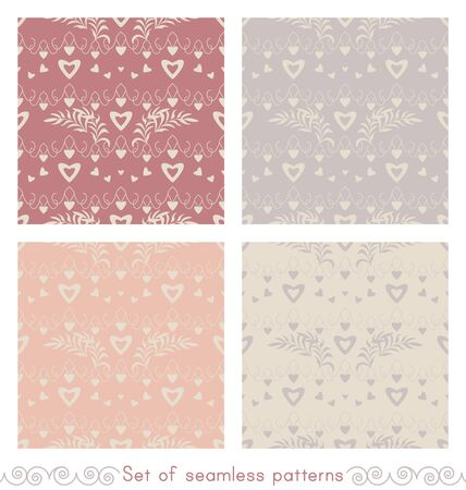 Set of seamless patterns with hearts, little hearts and leaves. Color ivory cream, gray, orange and red. Pastel colors. Vector