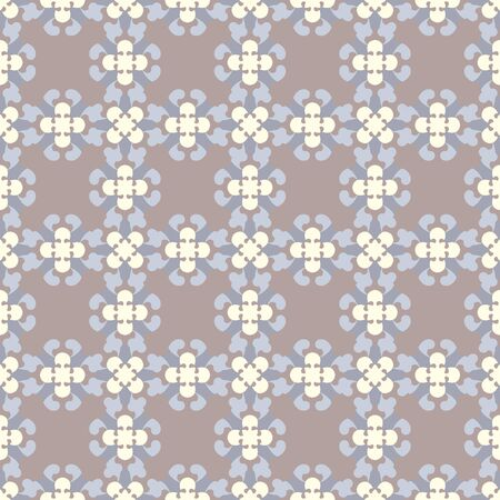 Retro, vintage seamless pattern. Chocolate color, blue and pale yellow. Pastel colors. Vector.