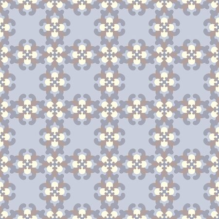 Retro, vintage seamless pattern. Blue, chocolate color and pale yellow. Pastel colors. Vector.