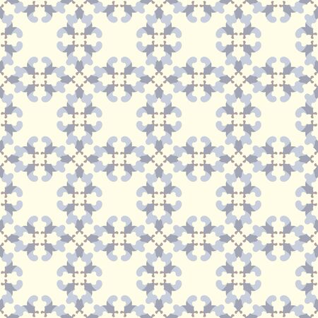 Retro, vintage seamless pattern. Pale yellow, chocolate color and blue. Pastel colors. Vector. Illustration