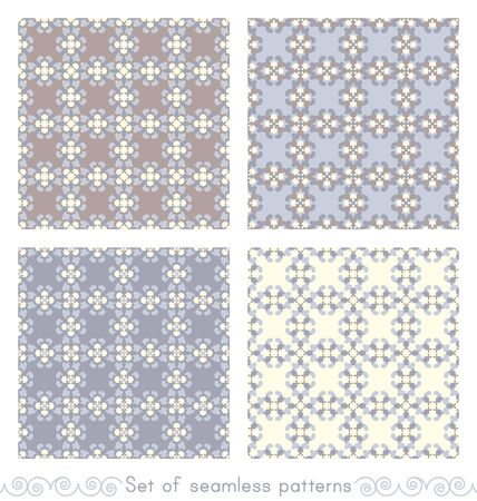 Set of seamless patterns retro, vintage. Chocolate color, blue, blue jean and pale yellow. Pastel colors. Illustration