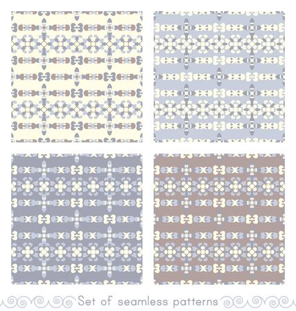 Set of seamless patterns retro, vintage. Chocolate color, bluen blue jean and pale yellow. Pastel colors. Vector. Illustration