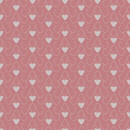 Seamless pattern with little hearts. Pink red color and gray. Vector.