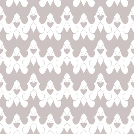 Seamless pattern with little hearts. White and gray. Vector. Illustration