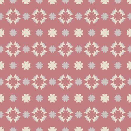 Seamless pattern with little abstract hearts. Pink red color, gray and ivory cream. Vector.