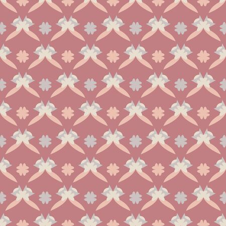 Seamless pattern with little abstract hearts. WPink red, gray, orange and ivory cream. Vector. Illustration